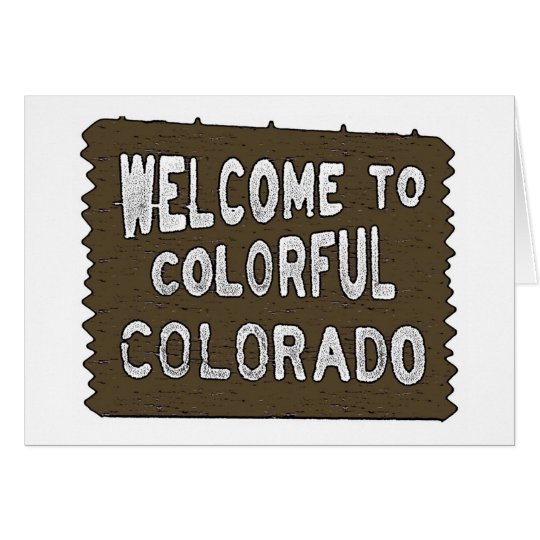 Colourful Colorado welcome sign custom cards