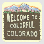 Colourful Colorado welcome sign mountains stickers