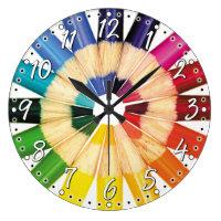 Colourful Coloured Pencil Artist Wall Clock