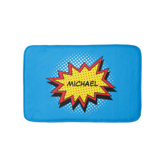Colourful Comic Book Style Custom Name Bath Mat