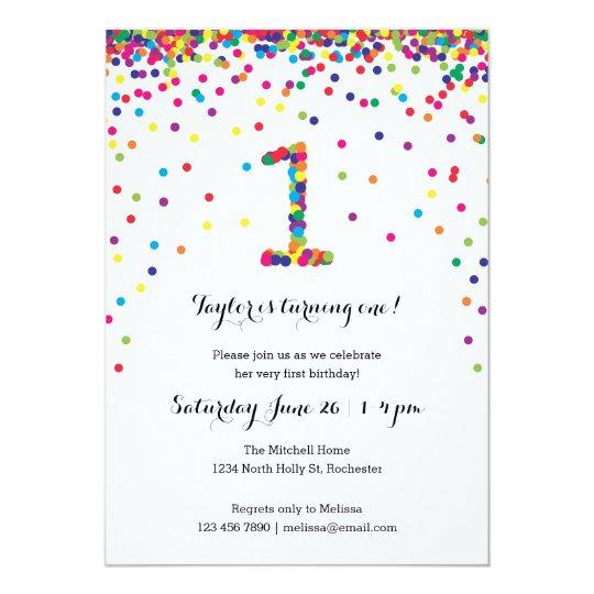 Colourful Confetti 1st Birthday Party Invitations