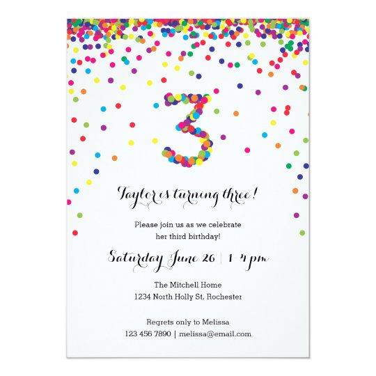 Colourful Confetti 3rd Birthday Party Invitations