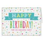 Colourful Confetti Aunt Birthday Card