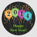 Colourful Confetti & Balloons Happy New Year Round Stickers