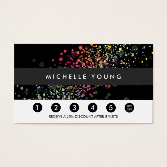 Colourful Confetti Bokeh on Black Modern Loyalty Business