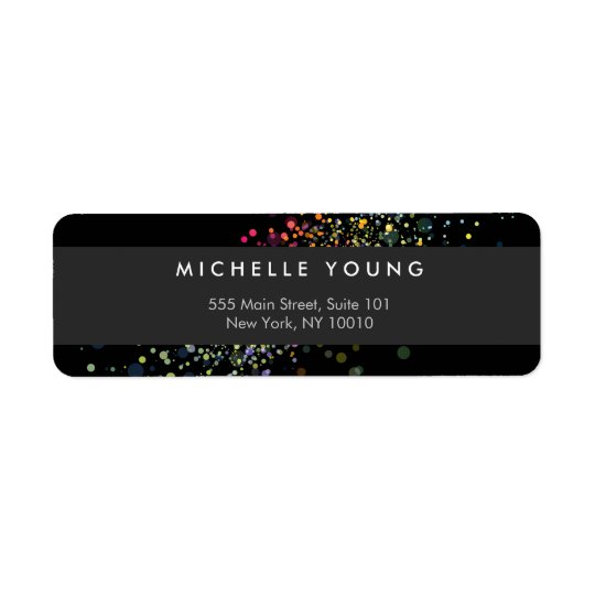 Colourful Confetti Bokeh on Black Modern Return Address Label