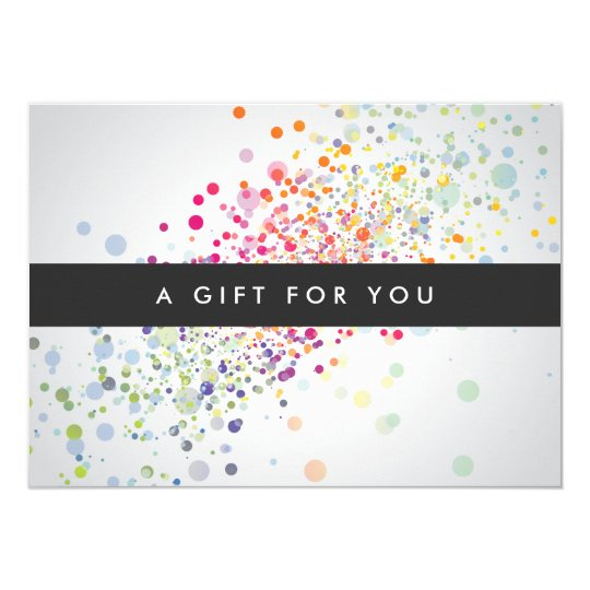 Colourful Confetti Bokeh on Grey Gift Certificate Card