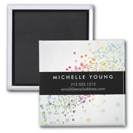 Colourful Confetti Bokeh on Grey Modern Magnet