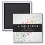 Colourful Confetti Bokeh on Grey Modern Square Magnet