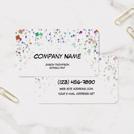 Colourful Confetti White Background Business Card