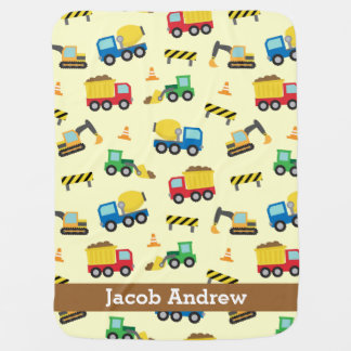 Colourful Construction Vehicles Pattern, Baby Boys Baby Blanket