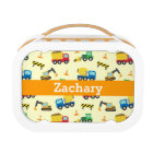 Colourful Construction Vehicles Pattern for Boys Lunch Box