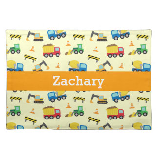 Colourful Construction Vehicles Pattern for Boys Placemat