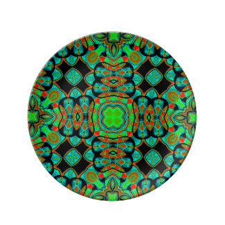 Colourful contemporary abstract porcelain plate