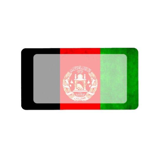 Colourful Contrast Afghan Flag Label