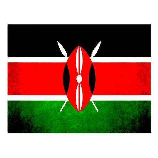 Colourful Contrast Kenyan Flag Postcard