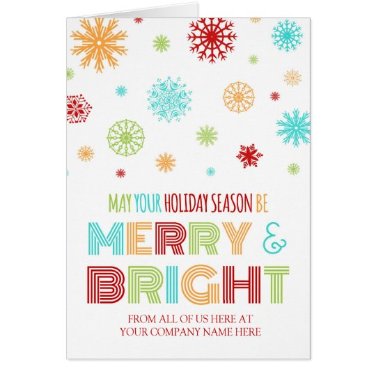Colourful Corporate Merry & Bright Christmas Card