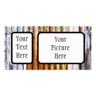 Colourful Corrugated Iron Fence Photo Greeting Card