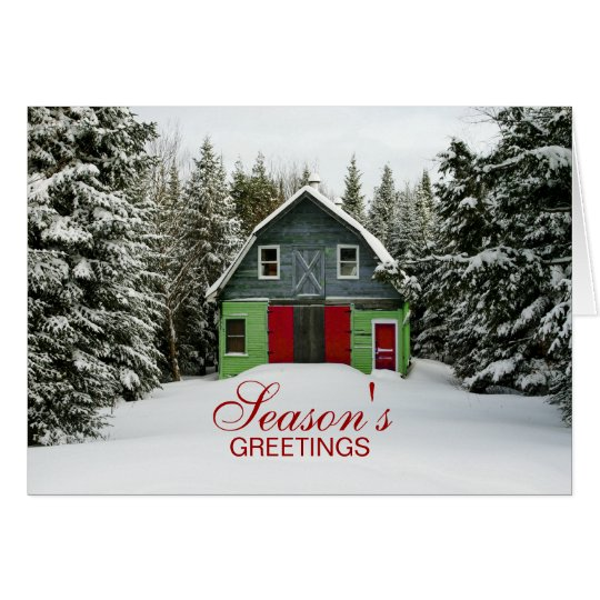 Colourful Country Barn Christmas Greeting Card