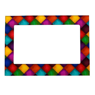 Colourful Country Chequered Patchwork Pattern Magnetic Frame