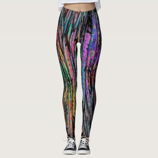 Colourful, Crazy, Funky with Vertical Abstract Art Leggings