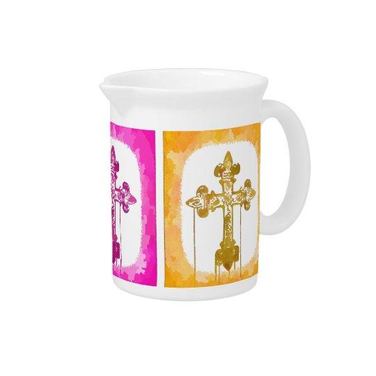 Colourful Crosses Christian Pop Art Pitcher