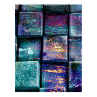 Colourful Cubes Blocks Squares Splattered Splat Postcard