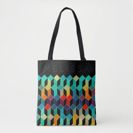 Colourful Cubes Modern Pattern & Monogram Tote Bag