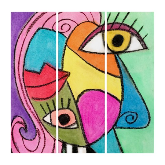Colourful Cubism Abstract Face Quirky Eyes Lips Triptych