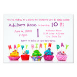 Colourful Cupcake - 3x5 Girl Birthday Card 9 Cm X 13 Cm Invitation Card