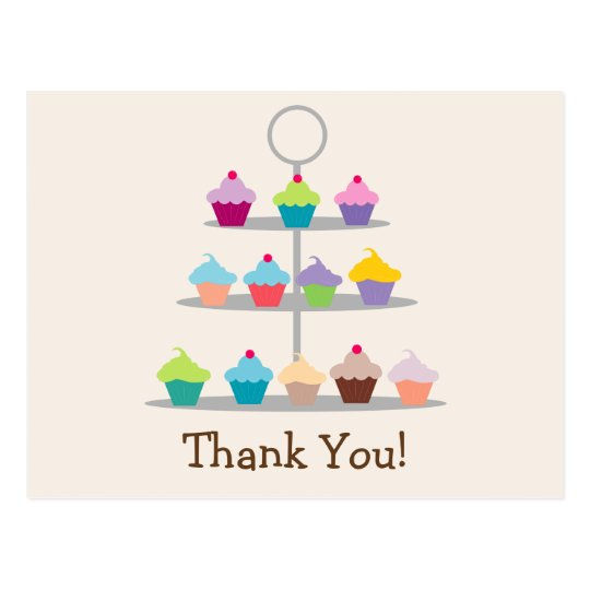 Colourful Cupcake Tree Thank You Postcard