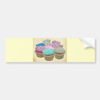 Colourful cupcakes and hearts bumper sticker