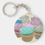Colourful cupcakes and hearts basic round button key ring