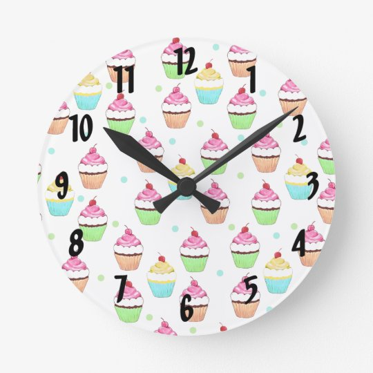 Colourful Cupcakes Wall Clock