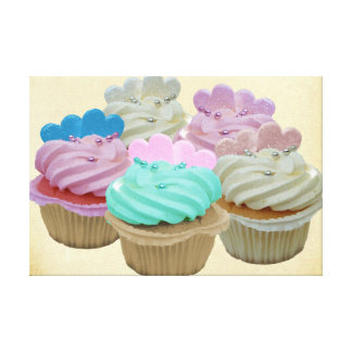Colourful Cupcakes Wrapped Canvas