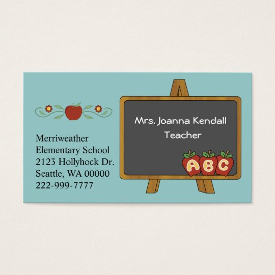 Colourful Custom Teacher's Business Card