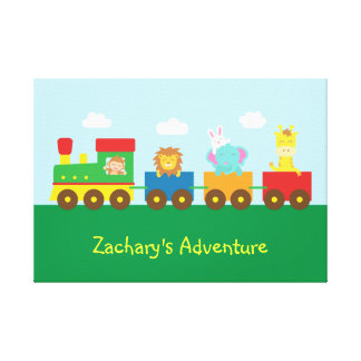 Colourful Cute Animal Train For Kids Bedroom Gallery Wrapped Canvas