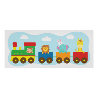 Colourful Cute Animal Train, For Kids room Poster