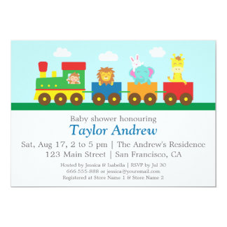 Colourful Cute Animals Train Baby Shower Party 13 Cm X 18 Cm Invitation Card