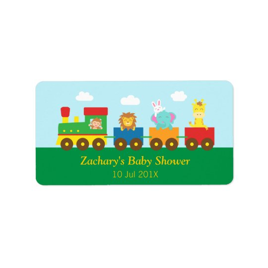 Colourful Cute Animals Train Baby Shower Party Address Label