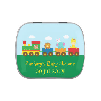 Colourful Cute Animals Train Baby Shower Party Candy Tin