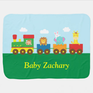 Colourful Cute Animals Train for Babies Baby Blanket