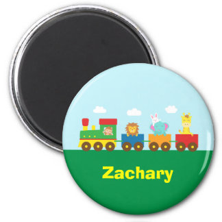 Colourful Cute Animals Train for Kids 6 Cm Round Magnet