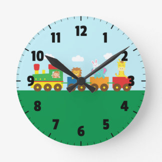 Colourful Cute Animals Train for Kids Bedroom Wall Clocks