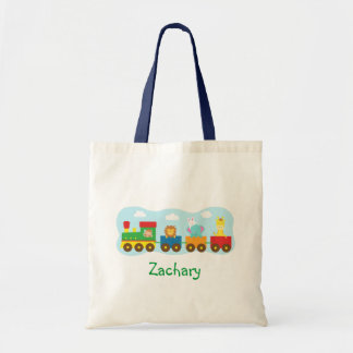 Colourful Cute Animals Train for Kids Budget Tote Bag