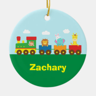 Colourful Cute Animals Train for Kids Christmas Ornament