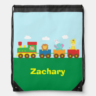 Colourful Cute Animals Train for Kids Drawstring Bag