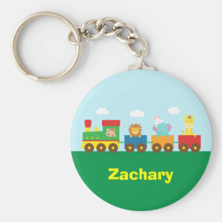 Colourful Cute Animals Train for Kids Basic Round Button Key Ring