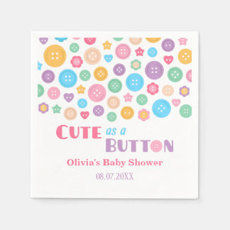 Colourful Cute as a Button Baby Shower Supplies Paper Napkin