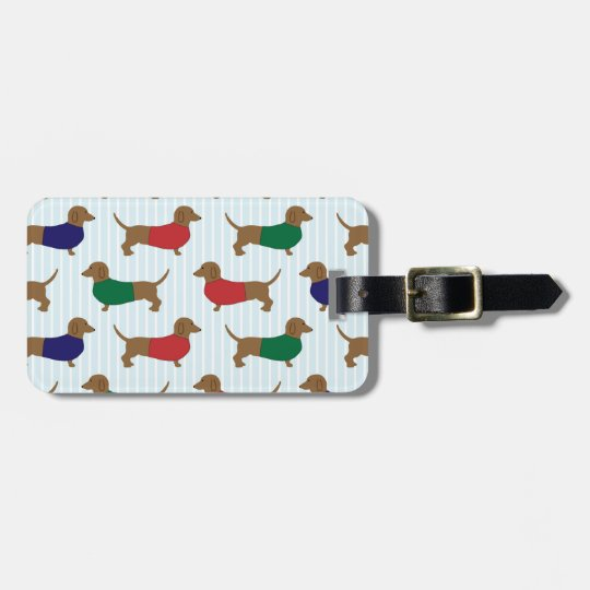 Colourful Cute Dachshunds Dogs Design Luggage Tag
